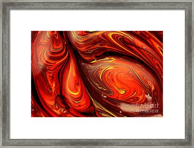 Abstract Red Smeared Paint Art Framed Print by Oleksiy Maksymenko
