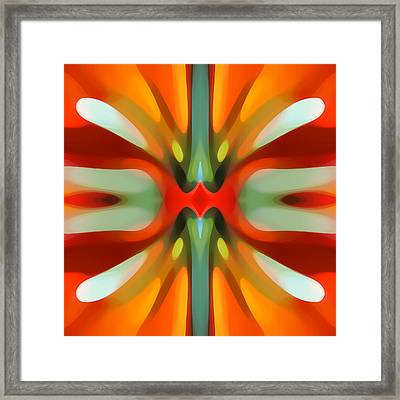 Abstract Red Tree Symmetry Framed Print by Amy Vangsgard