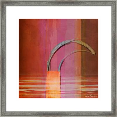 Abstract Right Bow On Red Framed Print