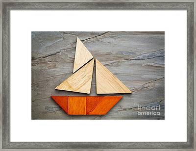 Abstract Sailboat From Tangram Puzzle Framed Print