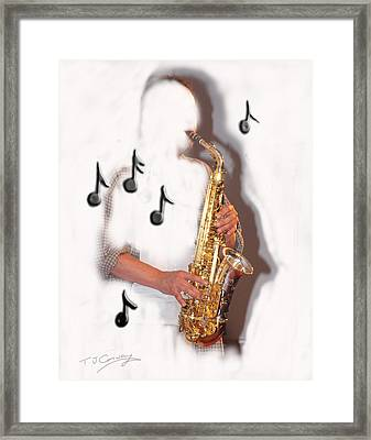 Abstract Saxophone Player Framed Print