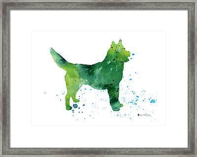 Abstract Siberian Husky Watercolor Art Print Painting Framed Print