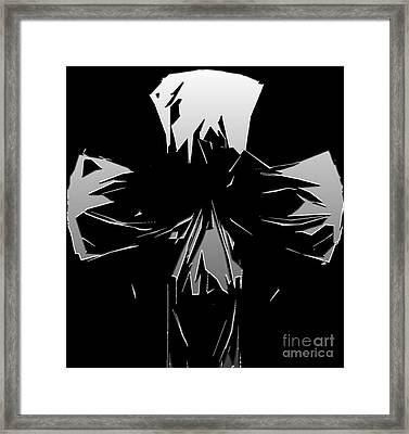 Abstract Skull Or Face Design Gray On Black Framed Print by Minding My Visions by Adri and Ray