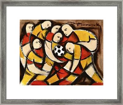 Abstract Soccer Players Art Print Framed Print