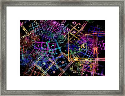 Abstract Squares Pattern Fractal Flame Framed Print