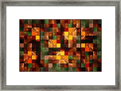 Abstract Squares Triptych Gentle Brown Framed Print