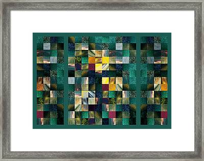 Abstract Squares Triptych Gentle Green Framed Print