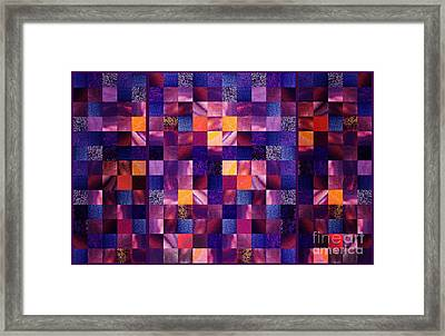 Abstract Squares Triptych Gentle Purple Framed Print