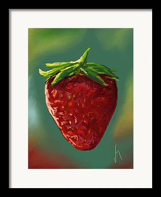 Strawberry Paintings Framed Prints
