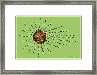 Abstract Sunburst On Green  Framed Print by Barbara Snyder