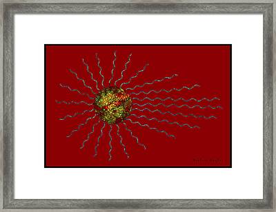 Abstract Sunburst On Red Framed Print by Barbara Snyder