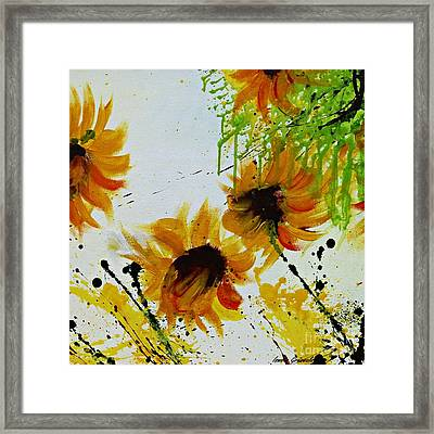Abstract Sunflowers Framed Print by Ismeta Gruenwald