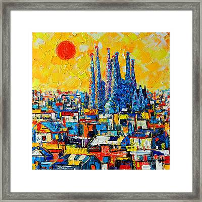 Abstract Sunset Over Sagrada Familia In Barcelona Framed Print by Ana Maria Edulescu