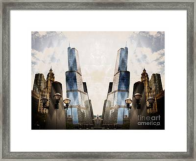 Abstract Surreal Chicago Michigan Avenue Framed Print by Linda Matlow