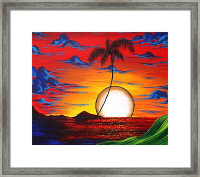 Abstract Surreal Tropical Coastal Art Original Painting Tropical Resonance By Madart Framed Print by Megan Duncanson