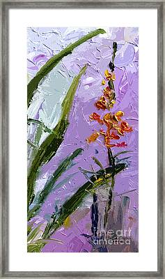 Abstract Tall Floral Modern Decor Framed Print by Ginette Callaway