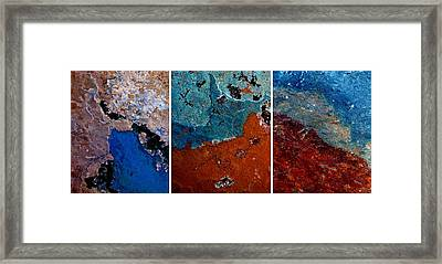 Abstract Terrain Triptych Framed Print by Patricia Strand