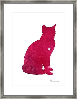 Abstract Thai Cat Watercolor Art Print Framed Print by Joanna Szmerdt