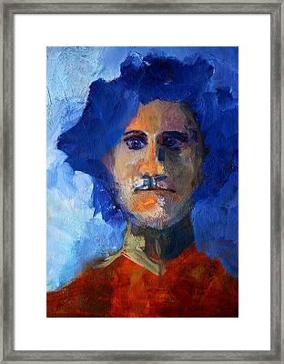 Abstract Thinking Man Portrait Framed Print by Nancy Merkle