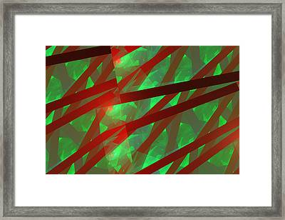 Abstract Tiled Green And Red Fractal Flame Framed Print by Keith Webber Jr