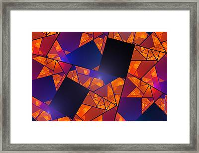 Abstract Tiled Orange And Blue Fractal Flame Framed Print