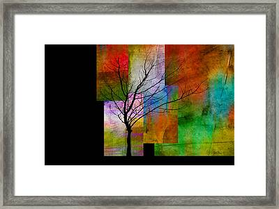 abstract- trees - Color Blocks with Tree Framed Print by Ann Powell