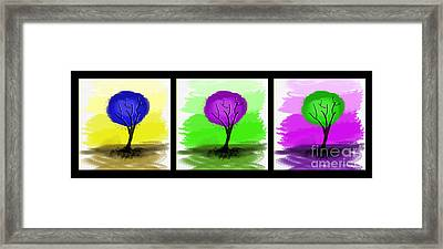 Abstract Trees Tryptich Framed Print