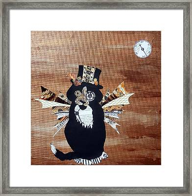 Steampunk Style Cat Art Tuxedo Cat Abstract Cat Painting Framed Print