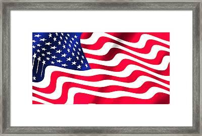 Abstract U S Flag Framed Print