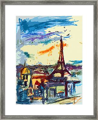 Abstract Under Paris Skies Mixed Media Art Framed Print