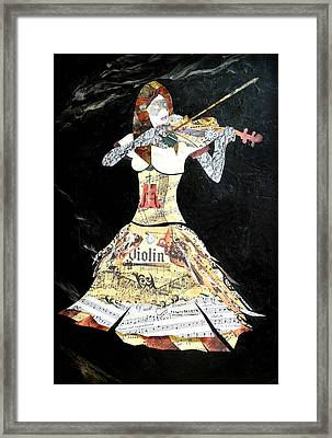Abstract Violin Painting Violinist Art Steampunk In Design Dolce Concerto  Framed Print by Holly Anderson