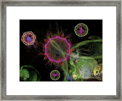 Abstract Virus Budding 1 Framed Print by Russell Kightley