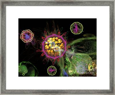 Abstract Virus Budding 3 Framed Print by Russell Kightley