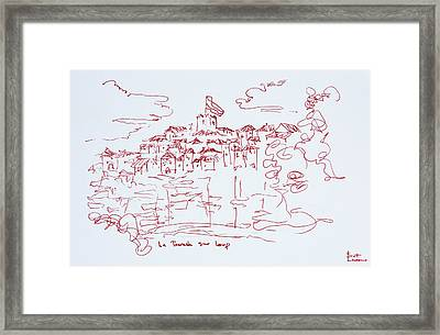 Abstract Watercolor Of Gourdon Framed Print