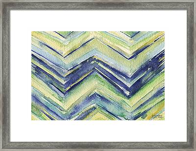 Abstract Watercolor Painting - Blue Yellow Green Chevron Pattern Framed Print by Beverly Brown