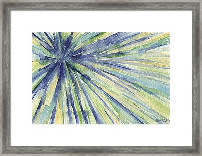 Abstract Watercolor Painting - Blue Yellow Green Starburst Pat Framed Print by Beverly Brown