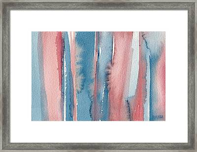 Abstract Watercolor Painting - Coral And Teal Blue Medium Stripes Framed Print by Beverly Brown