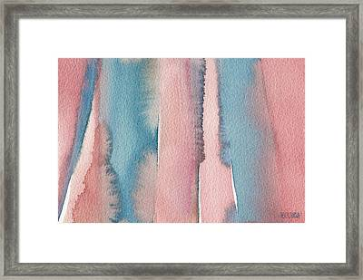 Abstract Watercolor Painting - Coral And Teal Blue Wide Stripes Framed Print by Beverly Brown