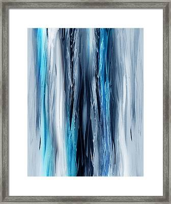 Abstract Waterfall Turquoise Flow Framed Print by Irina Sztukowski