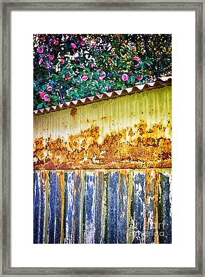 Abstract Weathered Metal Cabin Detail Framed Print by Silvia Ganora