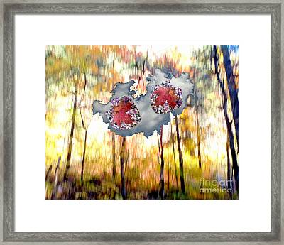 Abstract West Fork Autumn Bell Rock Heart Cloud Framed Print by Marlene Rose Besso
