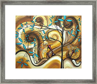 Abstract Whimsical Landscape Painting Home On The Range By Madart Framed Print by Megan Duncanson
