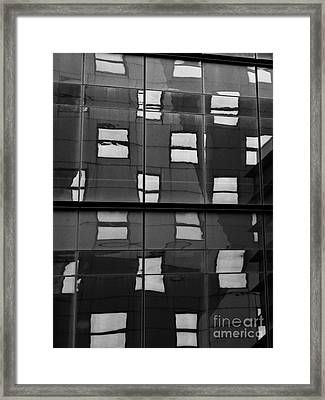 Abstract Window Reflections - Nyc Bw Framed Print