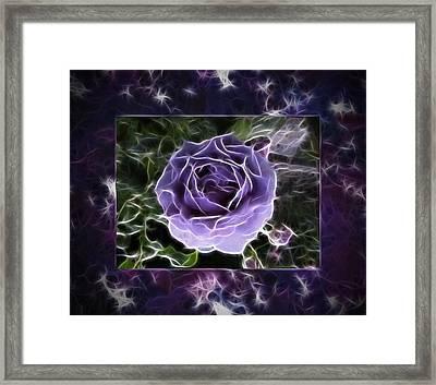 Abstract Window Violet Rose Digital Painting Framed Print by Georgeta Blanaru