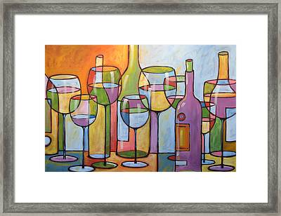 Abstract Wine Dining Room Bar Kitchen Art ... Time To Relax Framed Print by Amy Giacomelli