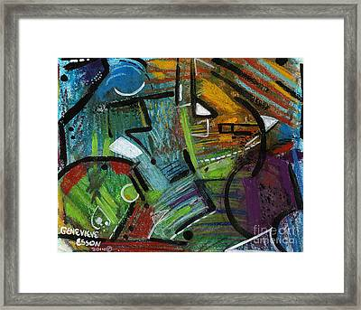 Abstract With Black Lines Framed Print by Genevieve Esson