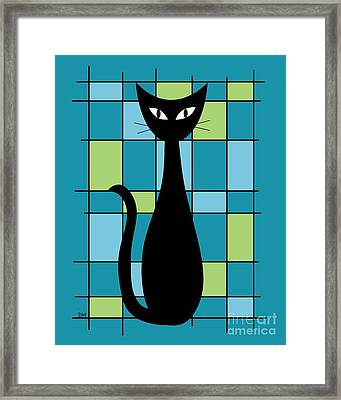 Abstract With Cat In Teal Framed Print