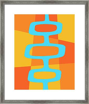 Framed Print featuring the digital art Abstract With Turquoise Pods 3 by Donna Mibus