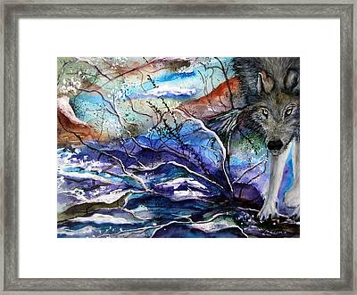 Framed Print featuring the painting Abstract Wolf by Lil Taylor