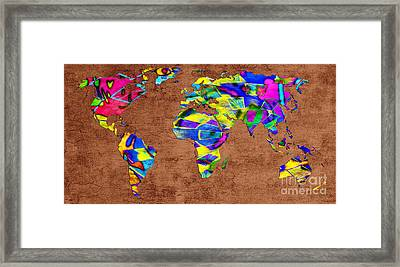 Abstract World Map - A Wide World Of Color - One Framed Print by Andee Design
